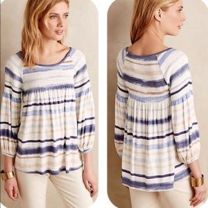Anthro Meadow Rue blue/tan striped peasant top S